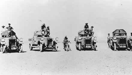 A typical group of Rolls-Royces in the Middle East, three at least with the upper panels of the turrets removed to reduce the heat. Each car was equipped with a single Vickers machine-gun.