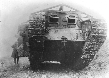 A female Mark I belonging to A Company, also showing the roof attachment.