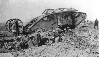 Mark I male tank C15, going into action near Thiepval with its steering tail raised clear of the ground.