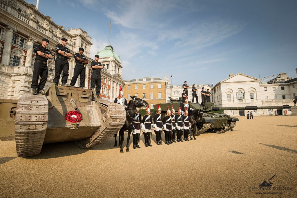 Mark IV with Challenger II on Horse Guards with the Royal Tank Regiment and Houshold Cavalry