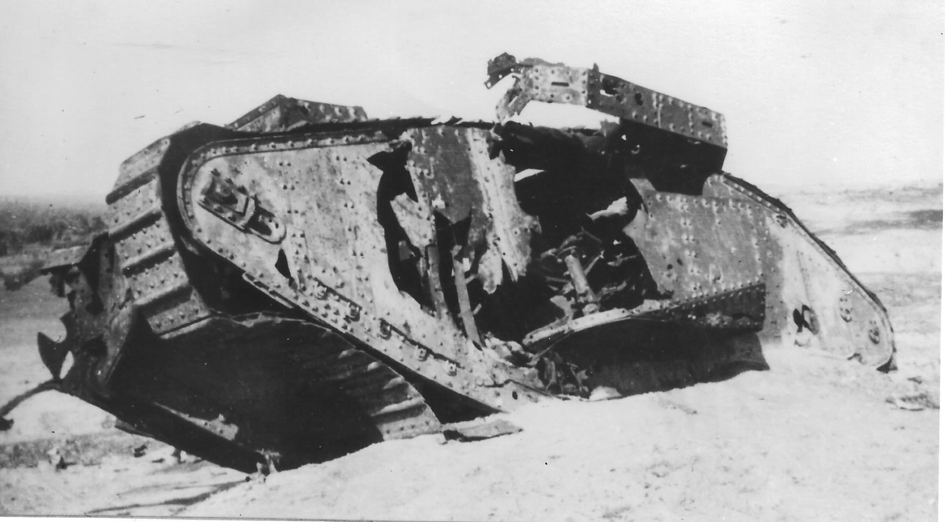 The devastated remains of War Baby a female tank that was struck by artillery and destroyed.
