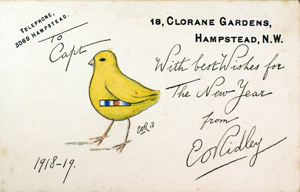 A greetings card sent to Chick. The 'Chick' is wearing his medal ribbons.
