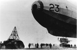 The airship handling tank at Pulham about to start towing the rigid airship Vickers R23.