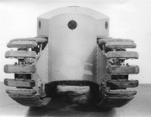 A Medium D seen from the front shows how different and original they were. This is believed to be one of those built by Wolseley Motors, not yet entirely finished, although the driver's position can be seen on top, the other openings would hold machine-gun mountings.
