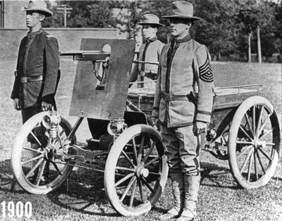 Armoured Car with a Colt machine-gun and armoured shield