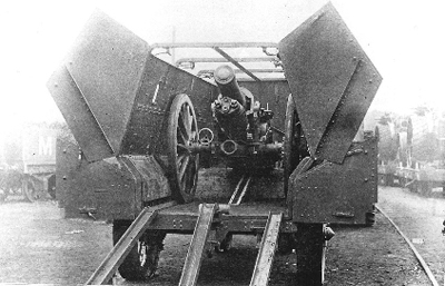 A wagon containing a field gun.