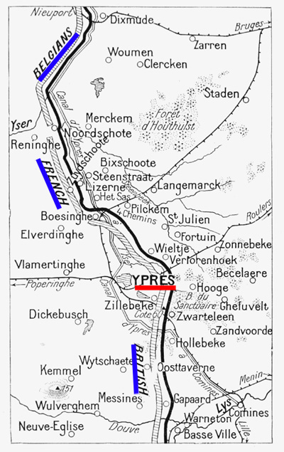 The front lines in the Ypres Salient before the battle began.