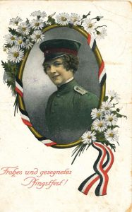 Colour tinted picture of a female soldier