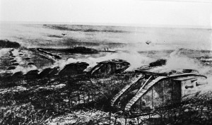 An artist's impression showing Mark IV tanks advancing at Cambrai.