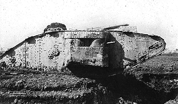 A Mark II tank photographed at Arras in 1917, with a female sponson, albeit armed with Lewis guns.