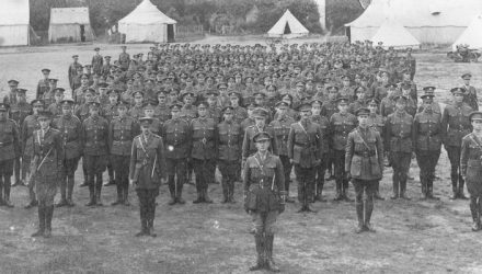 The First Photograph of the First Tank Men, taken at Bisley