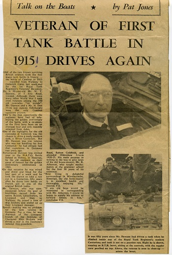A local newspaper report of William's trip to Germany. 'He was thrilled to bits to drive that Centurion.' Audrey Mitchell