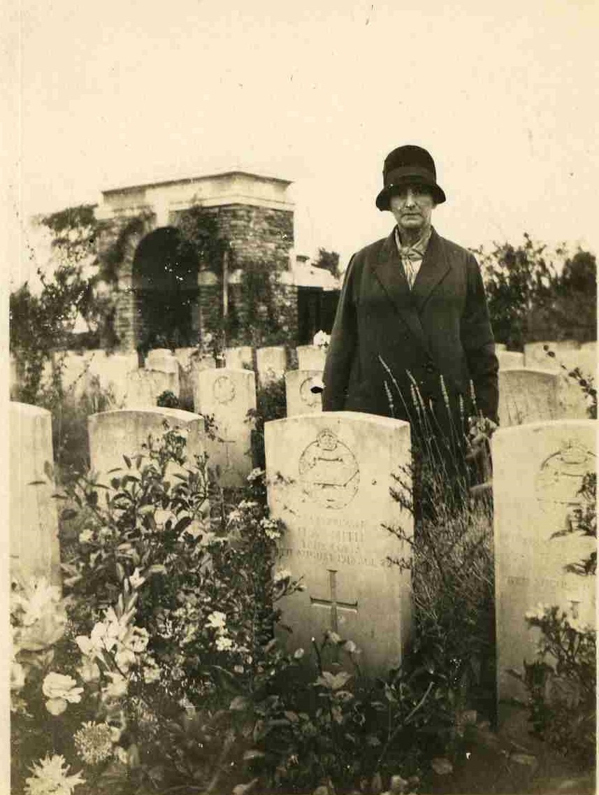 Smith's mother visiting his grave.