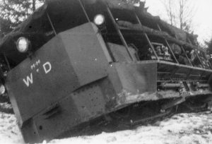 The Pedrail Machine slides off the road during the journey from Porton Down to Bovington in 1919.