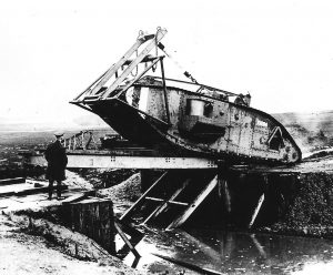 The tank is shown here, starting to cross the bridge, which is lifting at the other end. An artificial lock has been created at Christchurch, which the bridge just fits.