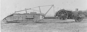 Here the device is shown fitted to a female Mark V** tank, in use as a crane.
