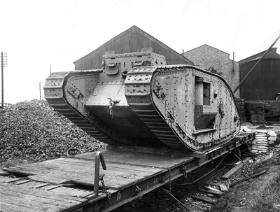The new tank's sponsons folded in for rail transport.