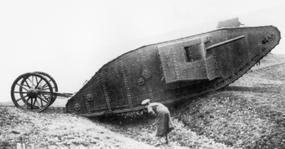 A Mark I (male) tank belonging to C Company, seen advancing towards Thiepval on 26 September 1916.