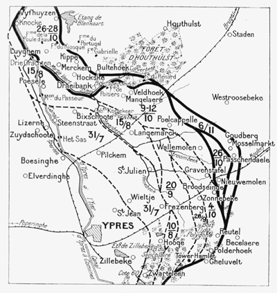 The front line at various points during the battle.
