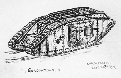 A drawing of G29, named Gorgonzola, by crewman Herbert Prior.
