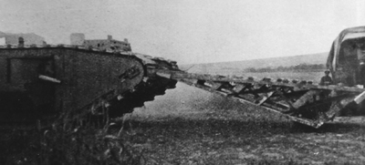 Mark IV tank with track grousers and ramp