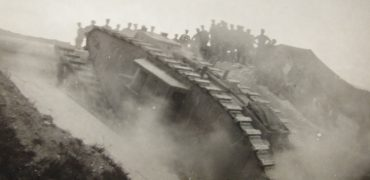 Mark IV tank climbing sea wall at Merlimont
