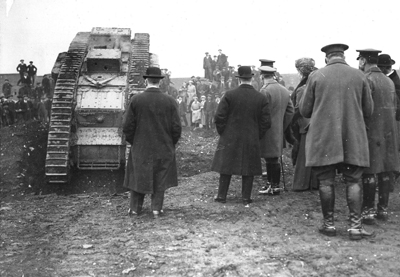 King George V inspecting a tank