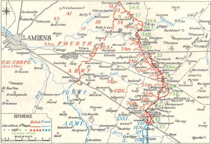 The full Allied advance during the Battle of Amiens.